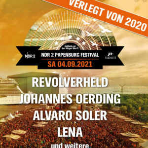 Neuer Termin: NDR 2 Papenburg Festival 2021 -Oerding, Revolverheld und Lena, 04.09.2021, 26871 Papenburg